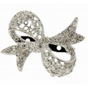 Bow Brooch Pin- Silver (4cm Diameter with a 15cm Pin)