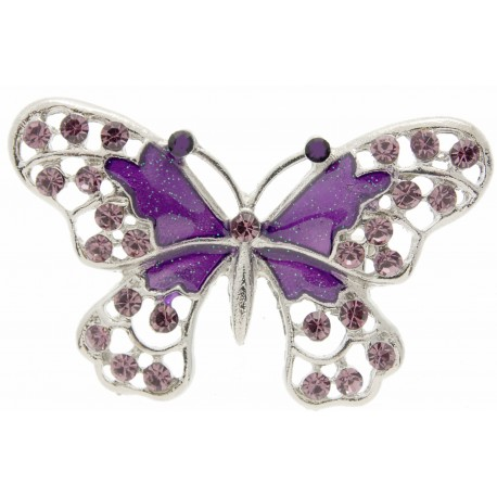 Butterfly Brooch Pin - Purple (4cm Diameter on 15cm Pin)