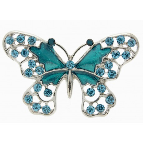 Butterfly Brooch Pin - Turquoise (4cm Diameter on 15cm Pin)