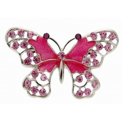 "Butterfly Brooch Pin- Hot Pink (4cm Diameter with ""Spot On"" 15cm Pin)"