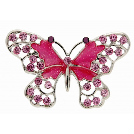 Butterfly Brooch Pin- Hot Pink (4cm Diameter on 15cm Pin)