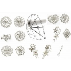 Tear Drop Brooch bouquet kit with Armature and 12 Brooches - Silver and Cream
