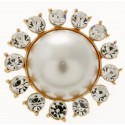 Beaming Pearl Brooch Pin - Cream and Gold (3cm Diameter, 15cm Pin)