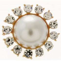 Beaming Pearl - Large Cream and Gold (5cm Diameter, 20cm pin)