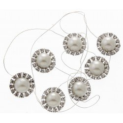 Beaming Pearl Jewel Garland - Cream and Silver (7 x 3cm Diameter Brooches on 1m roll)
