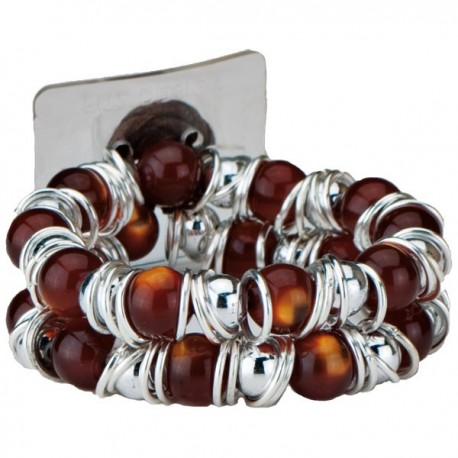 Gum Drop Flower Bracelet - Brown