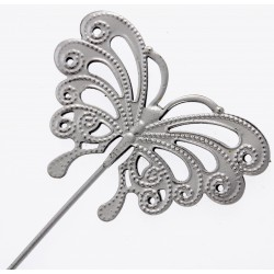Butterfly Shaped Flowergirl Wedding Day Wand - Silver