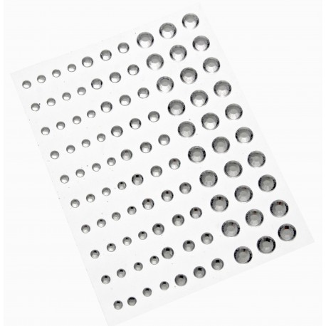 Mixed Sized Stick on rhinestones - Silver (6mm, 4mm & 3mm. 100pieces per card, 5 cards per pk)