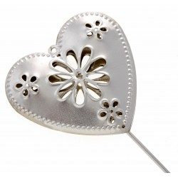 Heart Shaped Flowergirls Wedding Day Metal Wand - Silver