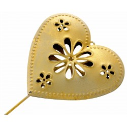 Heart Shaped Flowergirl Wedding Day Metal Wand - Gold