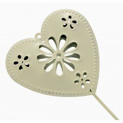 Heart Shaped Flowergirl Wedding Day Metal Wand - Cream