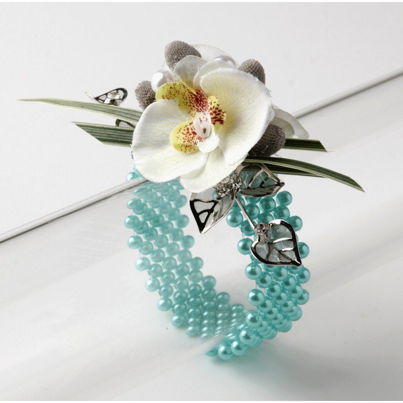 narrow classic corsage bracelet turquoise corsage creations