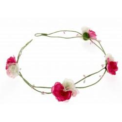 3 Rose Headband - White & Pink (17cm Diameter, adjustable)
