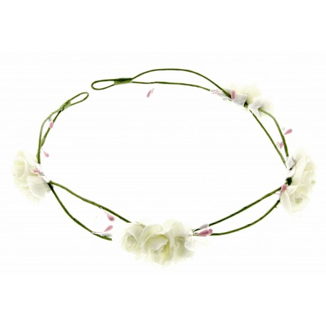 3 Rose Headband - White (17cm Diameter, adjustable)