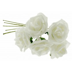 6cm Diameter Rose Bunch - White (5pcs per bunch)