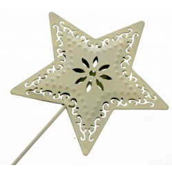 Star Shaped Flower Girl Wedding Day Metal Wand - Cream
