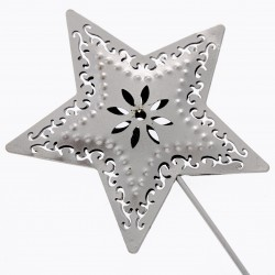 Star Shaped Flower Girl Wedding Day Metal Wand - Silver