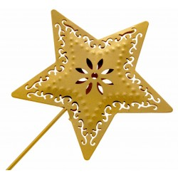 Star Shaped Flower Girls Wedding Day Metal Wand - Gold