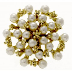 Treasure Chest Brooch Pin Large - Cream and Gold (5cm Diameter, 20cm pick)