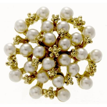 Treasure Chest Large - Cream and Gold (5cm Diameter, 20cm pick)
