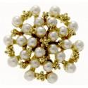 Treasure Chest Brooch Pin Large - Cream and Gold (5cm Diameter, 20cm pick)