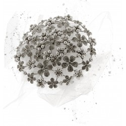 Fancy Brooch Bouquet Eternity - Silver and Cream