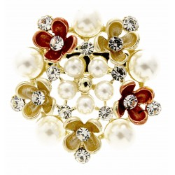 "Flower Brooch Pin - Gold and Cream (4cm Diameter with ""Spot On"" 15cm Pin)"