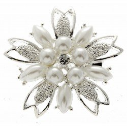 Pearl Blossom Brooch Pin - Cream and Silver (4cm Diameter with 15cm Pin)