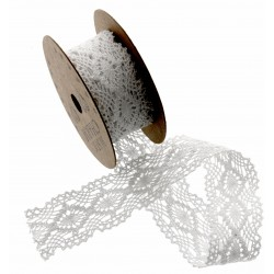 Cotton Lace Ribbon - White (28mm x 3m)
