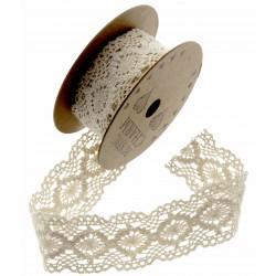 Cotton Lace Ribbon - Cream (28mm x 3m)