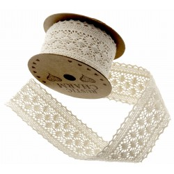 Cotton Lace Ribbon - Cream (40mm x 3m)