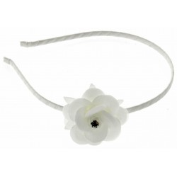Breathtaking Rhinestone Flower Headband - White