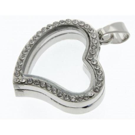 Rhinestone Heart Charm - Silver (2.5cm diameter)