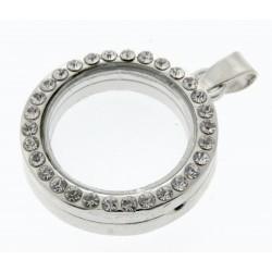 Rhinestone Circle Charm - Silver (2.5cm diameter)