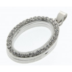 Rhinestone Oval Charm - Silver (2.5cm diameter)