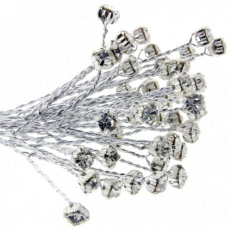 4mm Diamante Branch - Silver (3bunches x 6 stems per bag)
