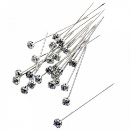 4mm Diamante Corsage Pin - Silver (4cm pin, 72 pcs per pk)