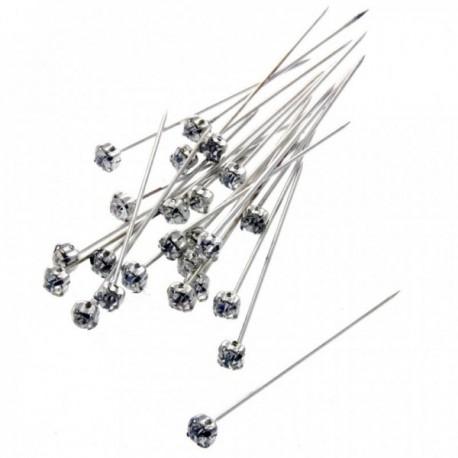 4mm Diamante Corsage Pin - Silver (4cm pin, 72 pcs per pk)