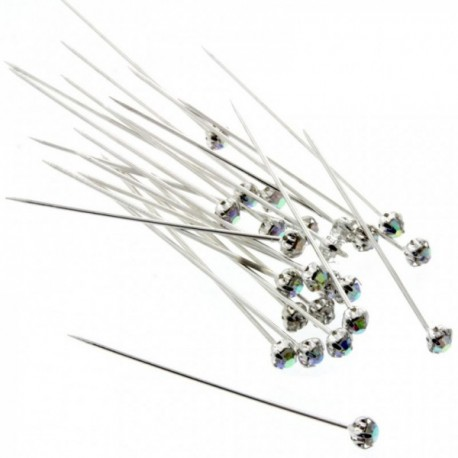 4mm Diamante Corsage Pin - Iridescent (4cm pin, 12pcs per pk)