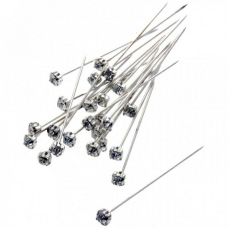 4mm Diamante Corsage Pin - Silver (4cm pin, 12 pcs per pk)