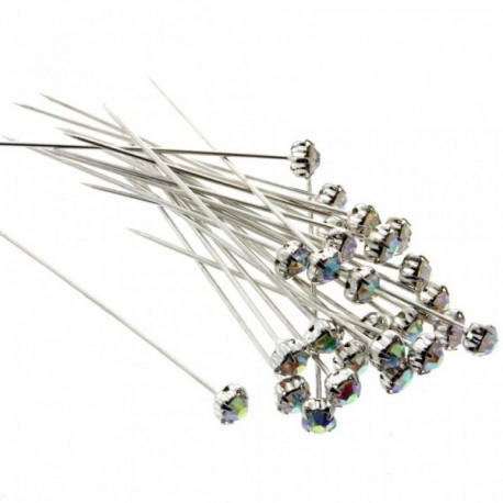 5mm Diamante Corsage Pins - Iridescent (4cm pin, 12 pcs per pk)