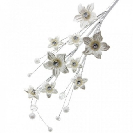 Forget Me Not Leaf Spray - Pearl White (26cm Long)