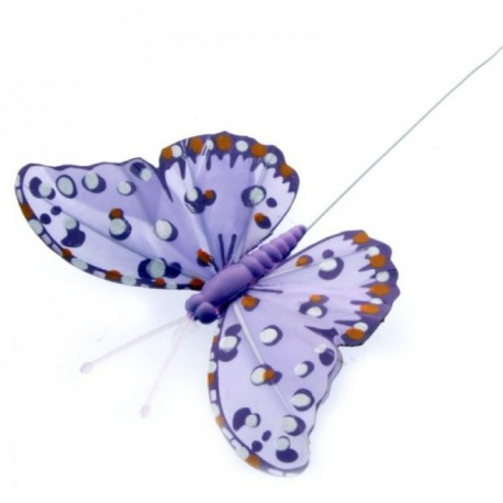 7cm Feather Butterflies - Lilac (12pcs per pk, on a 20cm wire)