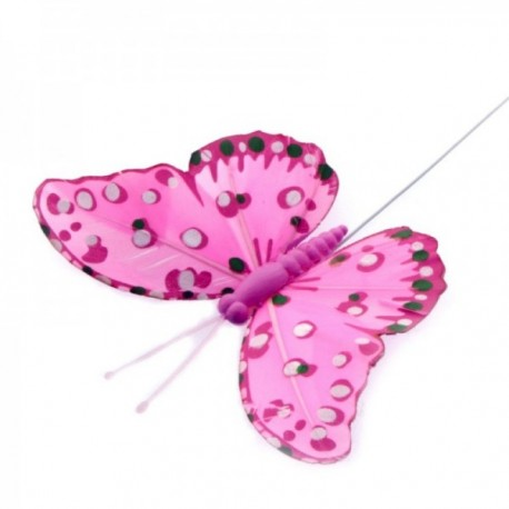 10cm Feather Butterflies - Pink (12pcs per pk, on a 20cm wire)