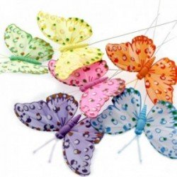 10cm Feather Butterflies - Lilac, Pink, Yellow, Green, Blue & Orange (12pcs per pk, on a 20cm wire)
