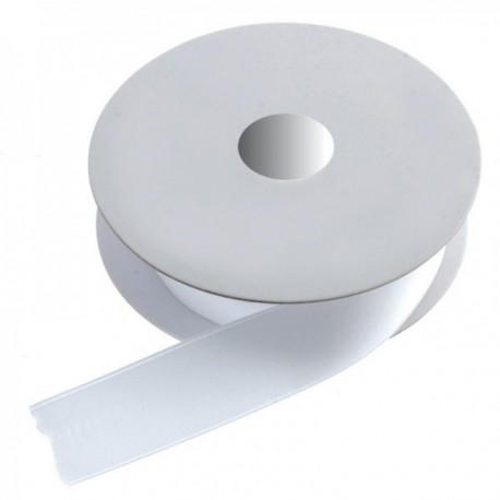 25mm Double Faced Satin - White (25mm x 20m)