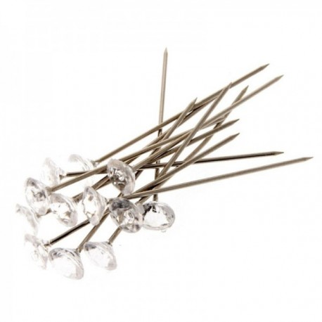 6mm Acrylic Diamond Pins - Clear (4cm Pin, 100pcs per pk)