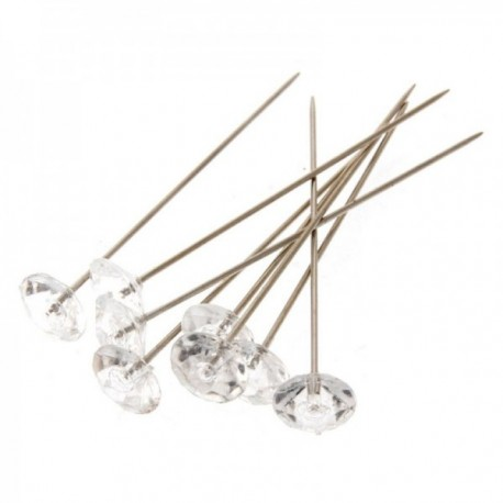 8mm Acrylic Diamond Pins - Clear (5cm Pin, 100pcs per pk)