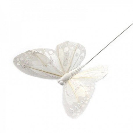 7cm Glitter Butterflies - White (12pcs per pk, on a 20cm wire)