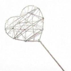 Glittered Heart Wand - White Iridescent (7cm Diameter on 30cm Handle)